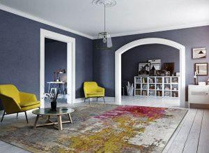 alfombra contemporánea decorando un salon