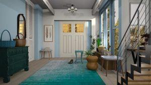 recibidor decorado con alfombra